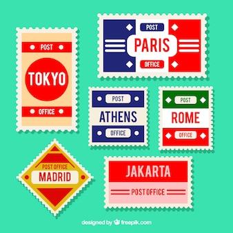 Sammlung von briefmarken mit verschiedenen städten