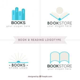 Sammlung von buch und lesen logos