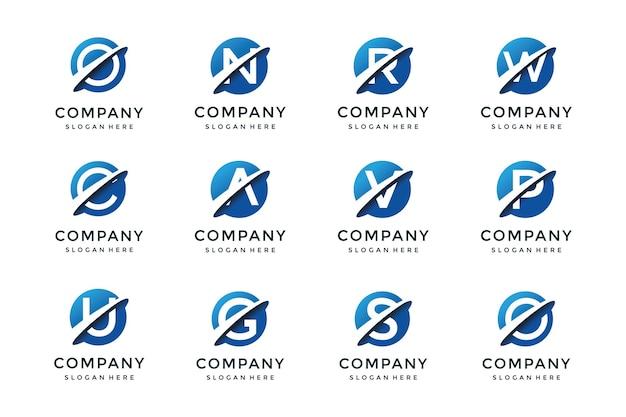 Sammlung von buchstaben-logo-vorlagen in einer planetenform.