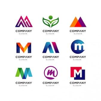 Sammlung von buchstaben m logo design templates