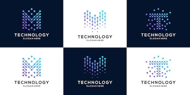 Sammlung von buchstaben mw und t logo-design-vorlage.