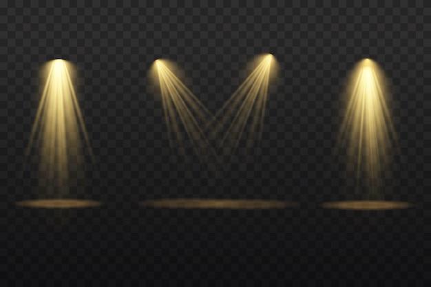 Sammlung von bühnenbeleuchtungsscheinwerfern, szene, bühnenbeleuchtung große sammlung, projektorlichteffekte, hellgelbe beleuchtung mit scheinwerfern, scheinwerfer isoliert auf transparentem hintergrund,