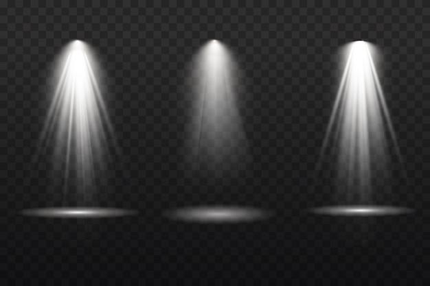 Sammlung von bühnenbeleuchtungsscheinwerfern, szene, bühnenbeleuchtung große sammlung, projektorlichteffekte, hellgelbe beleuchtung mit scheinwerfern, scheinwerfer isoliert auf transparentem hintergrund ,.