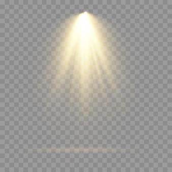 Sammlung von bühnenbeleuchtungsscheinwerfern, szene, bühnenbeleuchtung große sammlung, projektorlichteffekte, hellgelbe beleuchtung mit scheinwerfern, scheinwerfer isoliert, vektor.