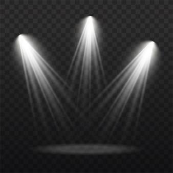 Sammlung von bühnenbeleuchtungsscheinwerfern, szene, bühnenbeleuchtung große sammlung, projektorlichteffekte, hellweiße beleuchtung mit scheinwerfern, scheinwerfer isoliert auf transparentem hintergrund