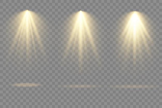 Sammlung von bühnenlichtscheinwerfern, projektorlichteffekten, scheinwerfer isoliert auf transparentem hintergrund.