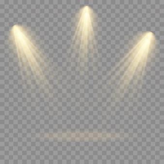 Sammlung von bühnenlichtscheinwerfern, szene, bühnenbeleuchtung große sammlung, projektorlichteffekte, hellgelbe beleuchtung mit scheinwerfern, scheinwerfer isoliert auf transparentem hintergrund ,.