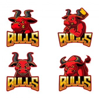Sammlung von bullen-logo-illustration