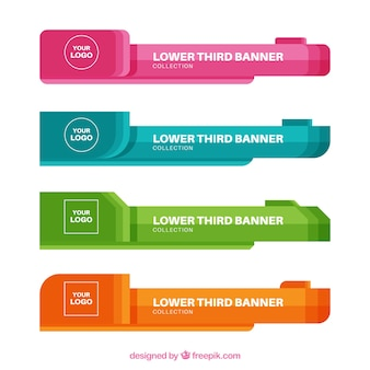 Sammlung von bunten bannern mit flachem design