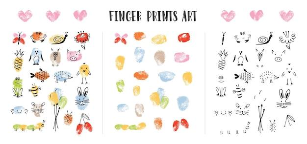Sammlung von bunten fingerabdrücken verziert durch die gesichter des entzückenden tieres lokalisiert auf weißem hintergrund. bündel von kunstgestaltungselementen für kinder. kindische bunte hand gezeichnete vektorillustration.