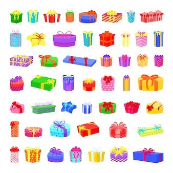 Sammlung von bunten geschenkboxen des vektors mit bändern und bögen.