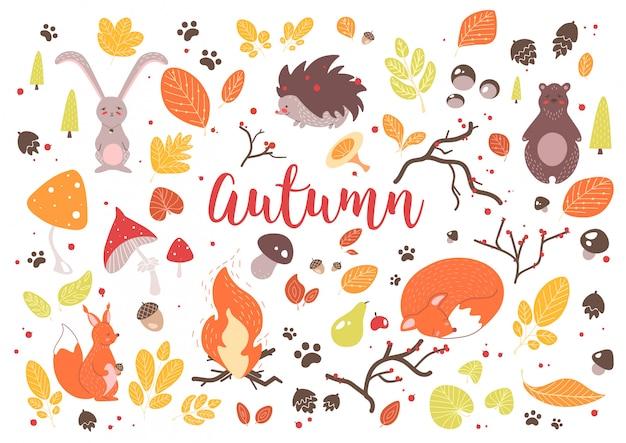 Sammlung von bunten herbstblättern, zweigen, zapfen, eicheln, nüssen, früchten, beeren, pilzen, brennendem lagerfeuer und niedlichen karikaturwaldtieren lokalisiert auf weißem hintergrund. illustration.