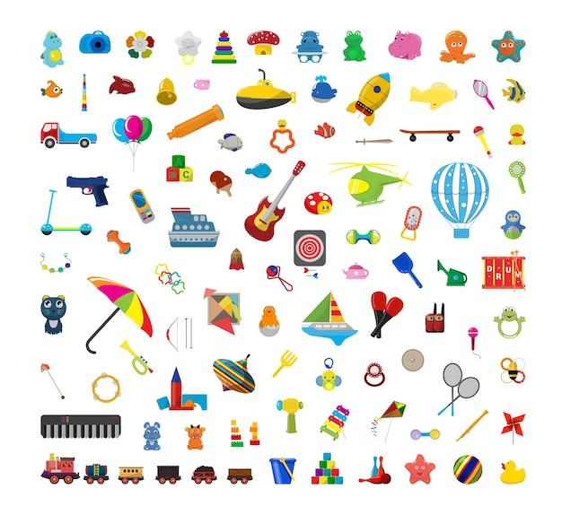 Sammlung von bunten kinderspielzeug.