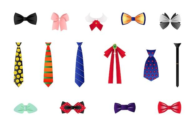Sammlung von bunten krawatten und fliegen des vektors.