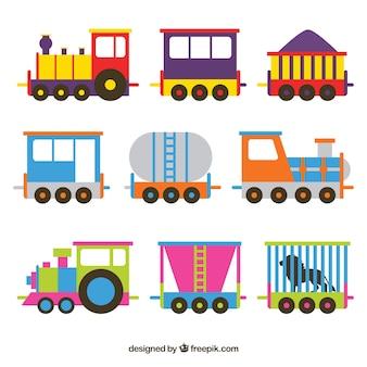 Sammlung von bunten lokomotiven mit wagen