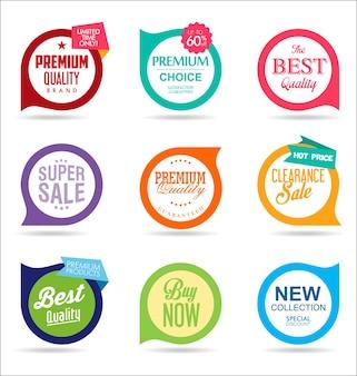 Sammlung von bunten modernen abzeichen und etiketten