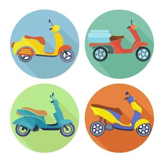 Sammlung von bunten motorräder