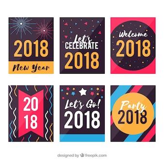Sammlung von bunten neujahrskarten