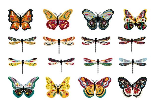Sammlung von bunten schmetterlingen und libellen mit floralen ornamenten.