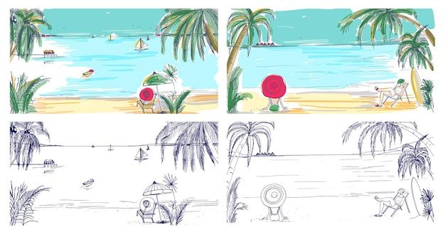 Sammlung von bunten und monochromen farbigen skizzen mit küstenlandschaften. tropisches resort mit menschen, die sich am sandstrand entspannen, exotische palmen und segelboote, die am horizont im meer schwimmen.