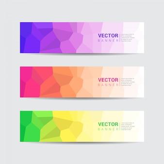Sammlung von bunten web-banner mit niedrigen poly-design-stil. vektor-template-design.