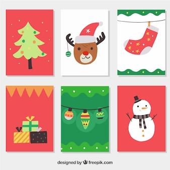 Sammlung von bunten weihnachts-postkarten