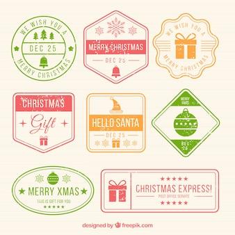 Sammlung von bunten weihnachtsstempel