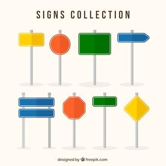 Sammlung von bunten zeichen in flachen design
