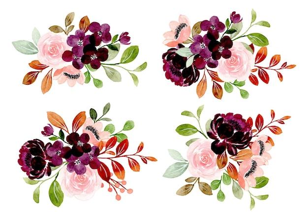 Sammlung von burgunderfarbenem blumenstrauß mit aquarell