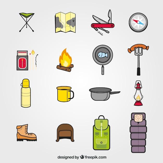 Sammlung von camping symbole