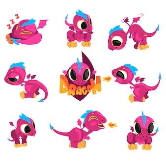 Sammlung von cartoon-baby-drachen für spiel