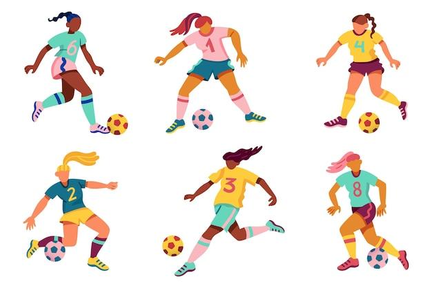 Sammlung von cartoon-fußballspielern