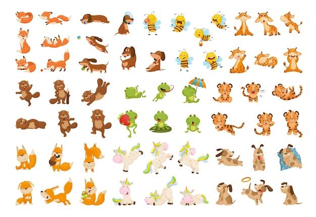 Sammlung von cartoon-illustrationen mit tieren
