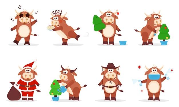 Sammlung von cartoon-ochsen frohes chinesisches neujahr