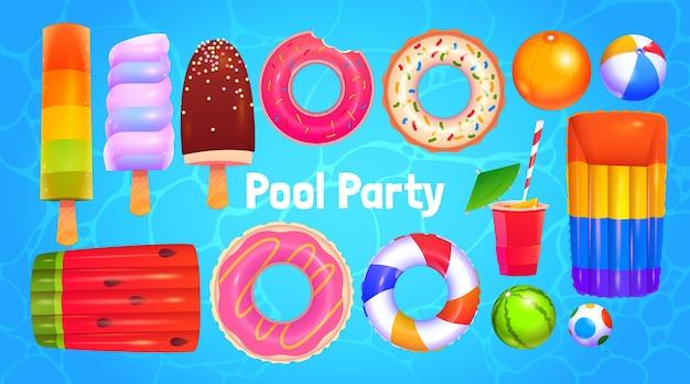 Sammlung von cartoon-poolparty-objekten