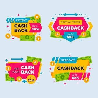 Sammlung von cashback-etiketten