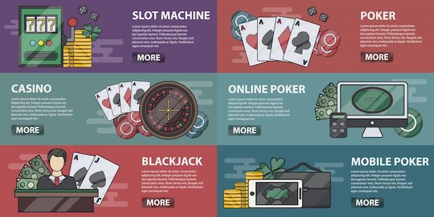 Sammlung von casino-bannern für dekoration und websites. konzept von online-poker, spielautomaten und glücksspiel. set von casino-ausrüstung und elementen in einer linie.