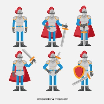 Sammlung von charakteren mit rüstung im flachen design