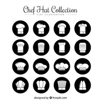 Sammlung von chefhüten in flachem design