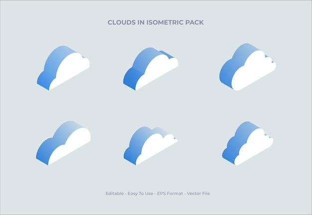 Sammlung von cloud-illustrationen in isometrischer form mit einem hauch von transparenz