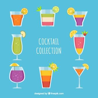 Sammlung von cocktail in flachem design
