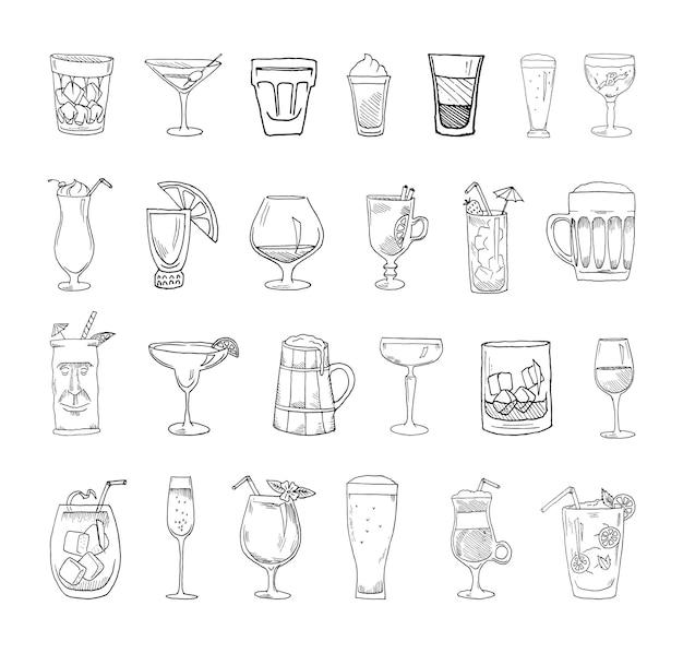 Sammlung von cocktails im skizzenstil.