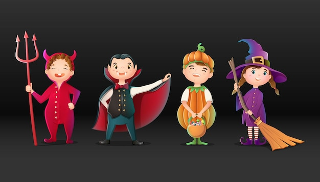 Sammlung von comic-halloween-figuren, teufel, hexe, kürbis und dracula.