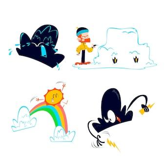 Sammlung von comic-wetterfiguren