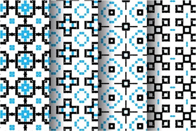 Sammlung von coolen aztekischen nahtlosen muster mit mozaic stil