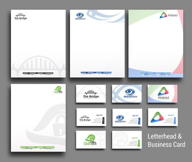 Sammlung von corporate identity briefköpfen und visitenkartenvorlagen im geschäftsstil Premium Vektoren