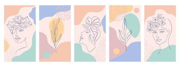 Sammlung von covern für social-media-geschichten, karten, flyer, poster, banner und andere werbeaktionen. schöne illustrationen mit einem strichzeichnungsstil und abstrakten formen. schönheits- und modekonzept.
