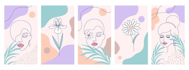Sammlung von covers für social-media-geschichten. illustrationen mit einem strichzeichnungsstil.