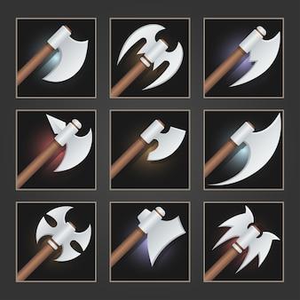 Sammlung von dekorationswaffen für spiele. satz silberner cartoon-äxte.