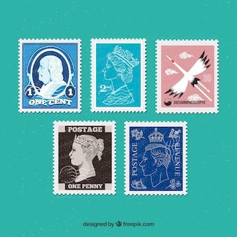 Sammlung von dekorativen briefmarken im vintage-stil